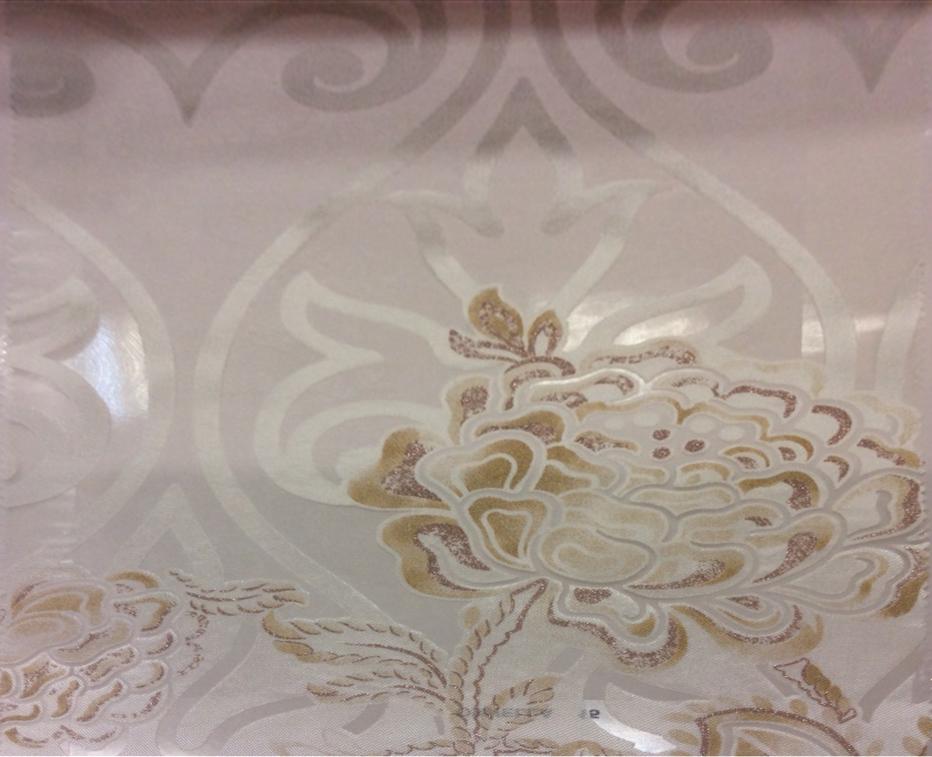 Тонкая ткань с вискозной нитью Ornella 15. Италия, Европа, тюль для штор. На светлом фоне бежевато-розовый цветочный принт с люрексом купить
