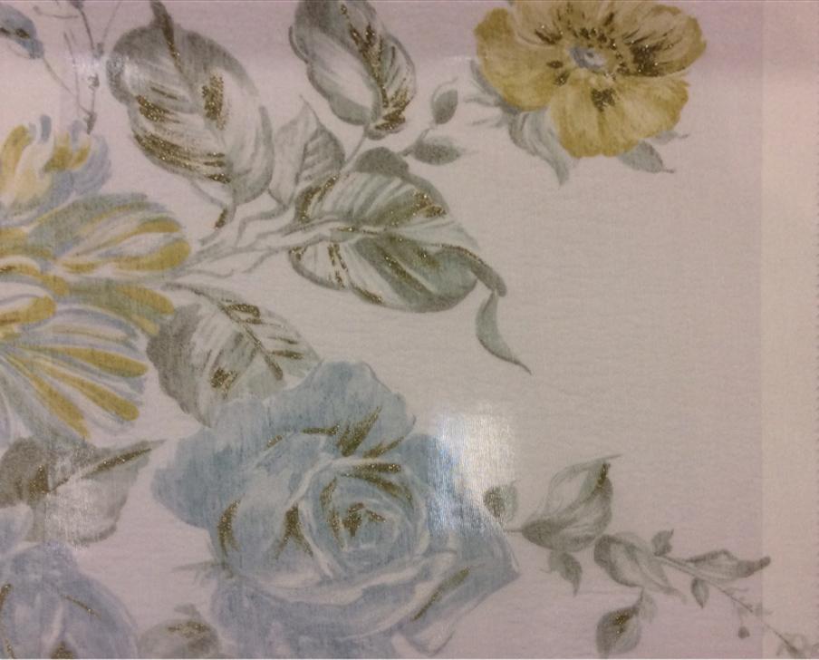 Красивая жатая ткань с нитью из бамбука Ornella 32. Европа, Италия, тюлевая ткань. На светлом фоне цветочный принт голубого и жёлтого оттенков, акварель купить
