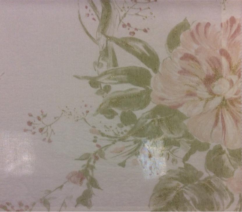 Жатая ткань с бамбуковой нитью Ornella 33. Италия, Европа, тюлевая ткань. На светлом фоне цветочный принт розового с зеленью оттенка, акварель купить