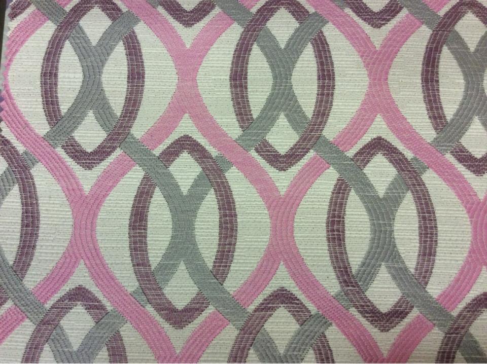Ткань с абстрактным рисунком под рогожку с хлопковой нитью Paloma 37. Европа, Испания, портьерная ткань для штор на заказ. Абстрактные линии розового, черничного, серого оттенков купить
