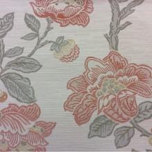 Ткань под рогожку с хлопковой нитью Paloma 12. Европа, Испания, портьерная, плотная ткань для штор. На светлом фоне цветочный орнамент, микс