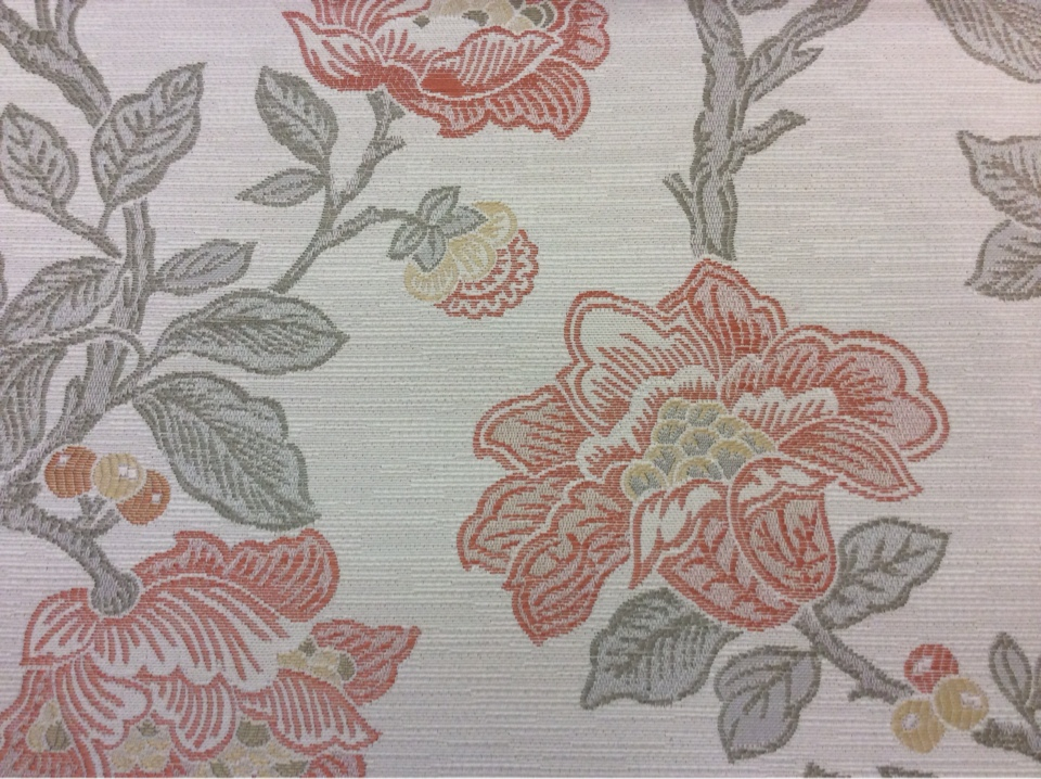 Ткань под рогожку с хлопковой нитью Paloma 12. Европа, Испания, портьерная, плотная ткань для штор. На светлом фоне цветочный орнамент, микс купить