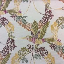 Очень красивая ткань с птицам под рогожку с хлопковой нитью Paloma 27. Испания, Европа, портьерная. На светлом фоне изображение птиц, микс