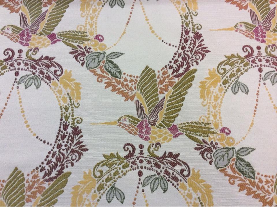 Очень красивая ткань с птицам под рогожку с хлопковой нитью Paloma 27. Испания, Европа, портьерная. На светлом фоне изображение птиц, микс купить в Москве