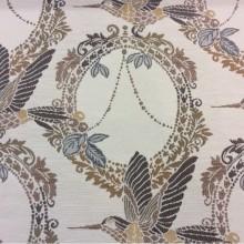 Портьерная ткань в стиле прованс Paloma 34. Европа, Испания, портьерная, плотная ткань для штор. На светлом фоне изображение птиц, микс