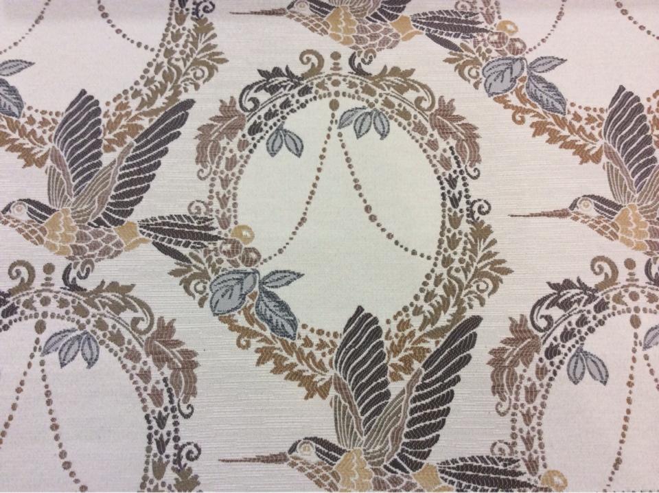 Портьерная ткань в стиле прованс Paloma 34. Европа, Испания, портьерная, плотная ткань для штор. На светлом фоне изображение птиц, микс купить, заказать в Москве
