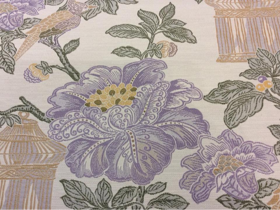Ткань под рогожку с хлопковой нитью в стиле жуи Paloma 07. Европа, Испания, портьерная ткань для штор. На светлом фоне изображение цветов и птиц, микс купить