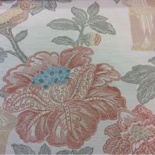 Красивая портьерная ткань под рогожу Paloma 14. Европа, Испания, портьерная, плотная. На светлом фоне изображение цветов и птиц, микс