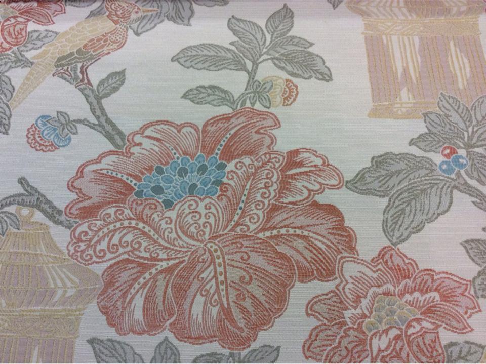 Красивая портьерная ткань под рогожу Paloma 14. Европа, Испания, портьерная, плотная. На светлом фоне изображение цветов и птиц, микс купить в Москве на заказ в интернет