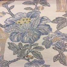 Ткань для занавесок под рогожку с хлопковой нитью Paloma 21. Европа, Испания, портьерная. На светлом фоне изображение цветов и птиц, микс