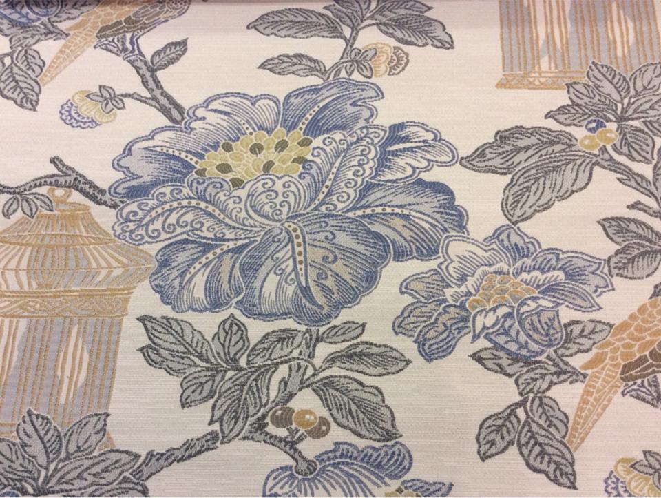 Ткань для занавесок под рогожку с хлопковой нитью Paloma 21. Европа, Испания, портьерная. На светлом фоне изображение цветов и птиц, микс купить