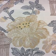 Испанская портьерная ткань под рогожку с хлопковой нитью Paloma 35. Европа, Испания, портьерная ткань для штор в Москве. На светлом фоне изображение цветов и птиц, микс