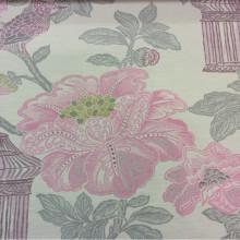 Плотная портьерная ткань в стиле жуи, под рогожку с хлопковой нитью Paloma 42. Европа, Испания, портьерная ткань для штор. На светлом фоне изображение цветов и птиц, микс