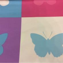 Хлопковая ткань с ярким орнаментом бабочек Mariposas 3. Европа, Испания, портьерная. Цветные бабочки в квадратах