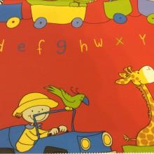 Хлопковая ткань с ярким принтом Zoo 2. Испания, Европа, портьерная ткань. На красном фоне цветные фигурки животных, буквы