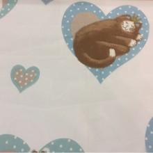Ткань в детскую с кошками и сердечками Misifu 4. Испания, Европа, тонкий тюль. На прозрачном фоне шоколадные с голубым кошечки