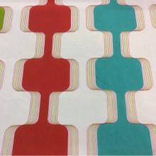 Разноцветная ткань для штор в стиле китч Ruban 1. Европа, Испания, тюль. На прозрачном фоне вертикальные зигзагообразные цветные линии