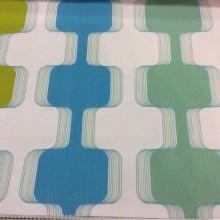 Необычная ткань для штор из органзы с вискозой Ruban 2. Испания, Европа, тюль. На прозрачном фоне зигзагообразные цветные линии
