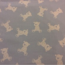 Портьерная ткань из хлопка Cindy 06. На голубом фоне белые мишки. Испания, Европа, портьерная тонкая ткань для детской