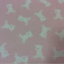 Портьерная ткань из хлопка Cindy 15. Испания, портьерная. На розовом фоне белые мишки