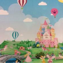 Портьерная ткань для девочки с феями и принцессами Cindy 12. Купонная ткань: низ с рисунком, верх однотонный. Европа, Испания, портьерная. Цветной рисунок из диснеевского мультфильма