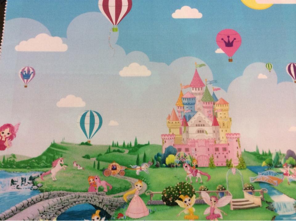 Портьерная ткань для девочки с феями и принцессами Cindy 12. Купонная ткань: низ с рисунком, верх однотонный. Европа, Испания, портьерная. Цветной рисунок из диснеевского мультфильма купить