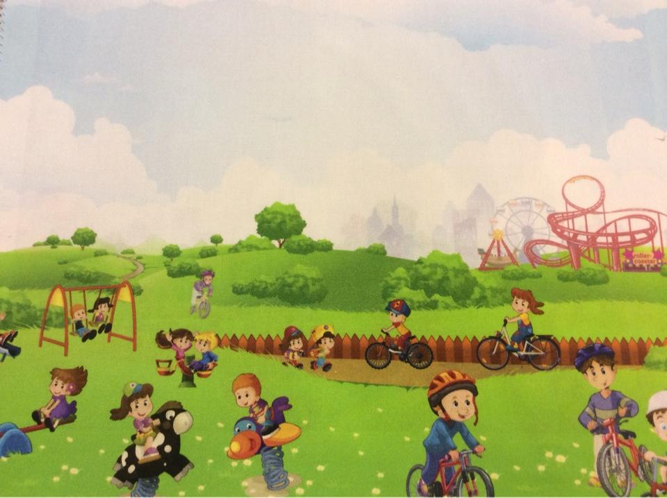 """Ткань для детской с детьми Cindy 20. Испания, Европа, портьерная, экологичная ткань. Цветной рисунок """"весёлые человечки"""" купить"""