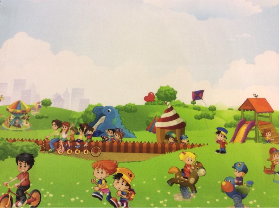 """Экологичная ткань для детской комнаты (100% хлопок) Cindy 21. Испания, Европа, портьерная. Цветной рисунок """"весёлые человечки"""" купить"""