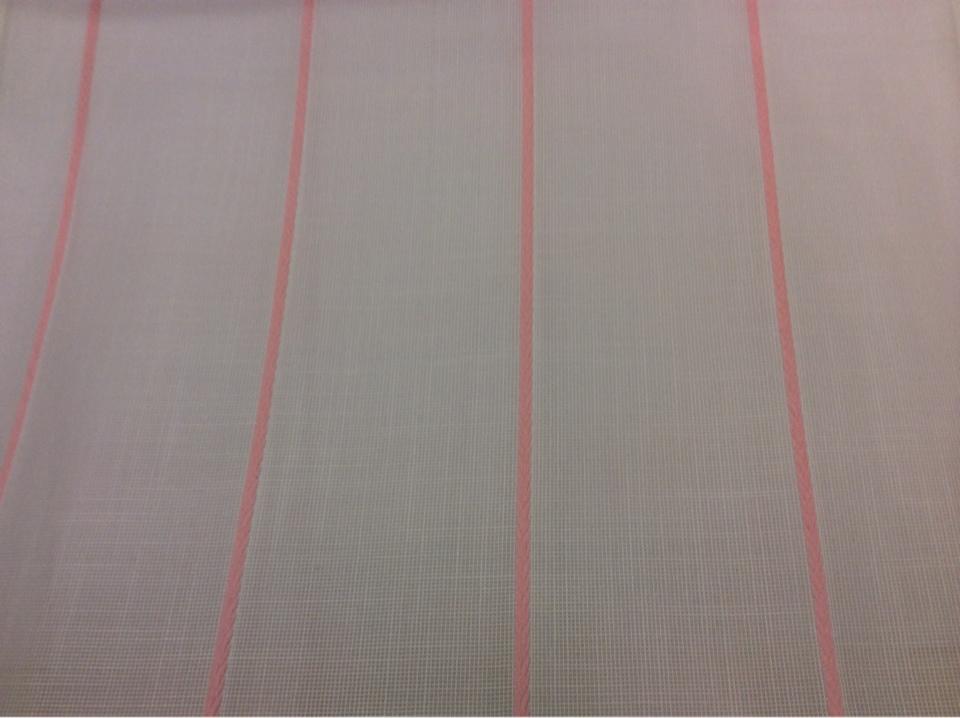 Тюлевая ткань с добавлением хлопка, на белой сетке розовые полосы Cindy 16. Испания, тюль с доставкой