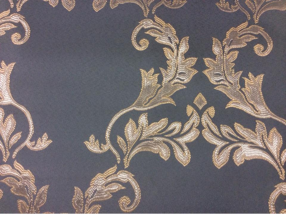 Купить фанцузскую ткань из атласа с вышивкой 2375/41. Европа, Франция, портьерная. Насыщенный голубой фон, серебристый орнамент купить