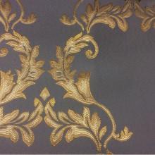 Купить атласную ткань в стиле барокко 2375/45. Франция, Европа, портьерная ткань. Насыщенный голубой фон, золотистый орнамент