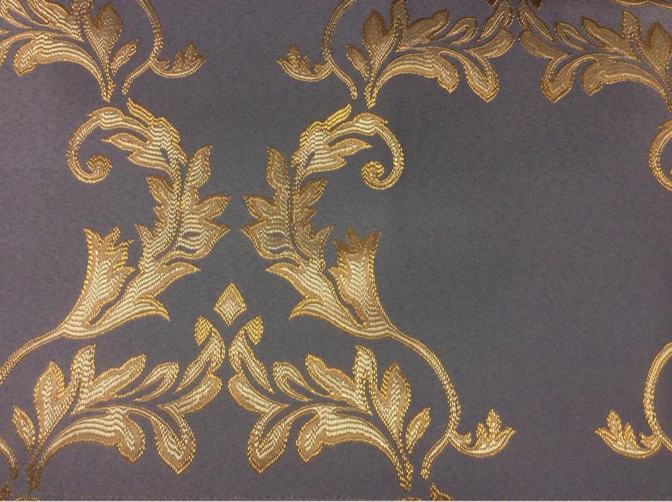 Купить атласную ткань в стиле барокко 2375/45. Франция, Европа, портьерная ткань. Насыщенный голубой фон, золотистый орнамент заказать