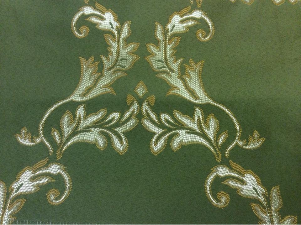 Атлас с вышивкой в стиле барокко в Москве 2375/50. Франция, Европа, портьерная ткань. Зелёный фон, золотистый орнамент купить