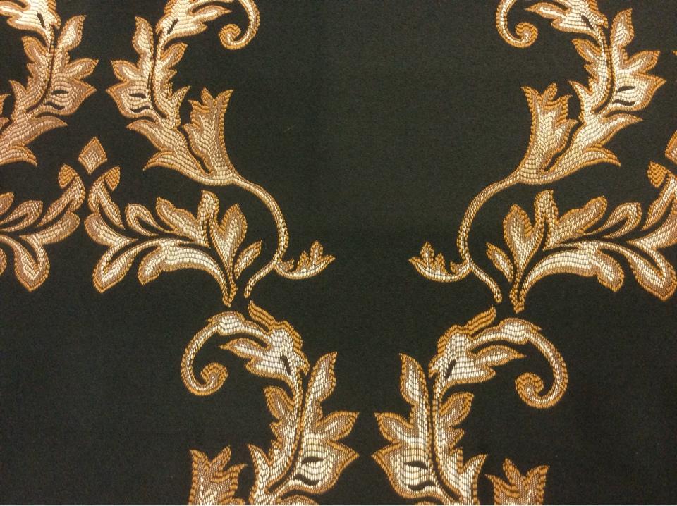 Атласная ткань из Франции 2375/55. Европа, Франция, портьерная ткань для штор.Тёмно-зелёный фон, золотистый орнамент магазин