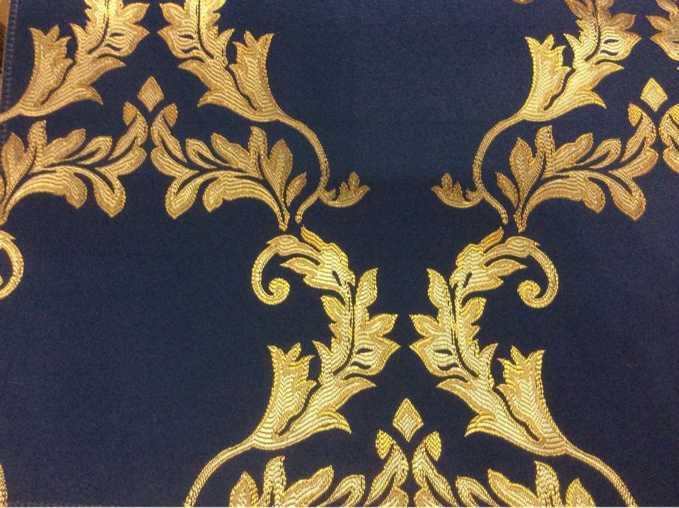Купить ткань в интернете 2375/40. Франция, Европа, портьерная. Тёмно-синий фон, золотистый орнамент в интернете