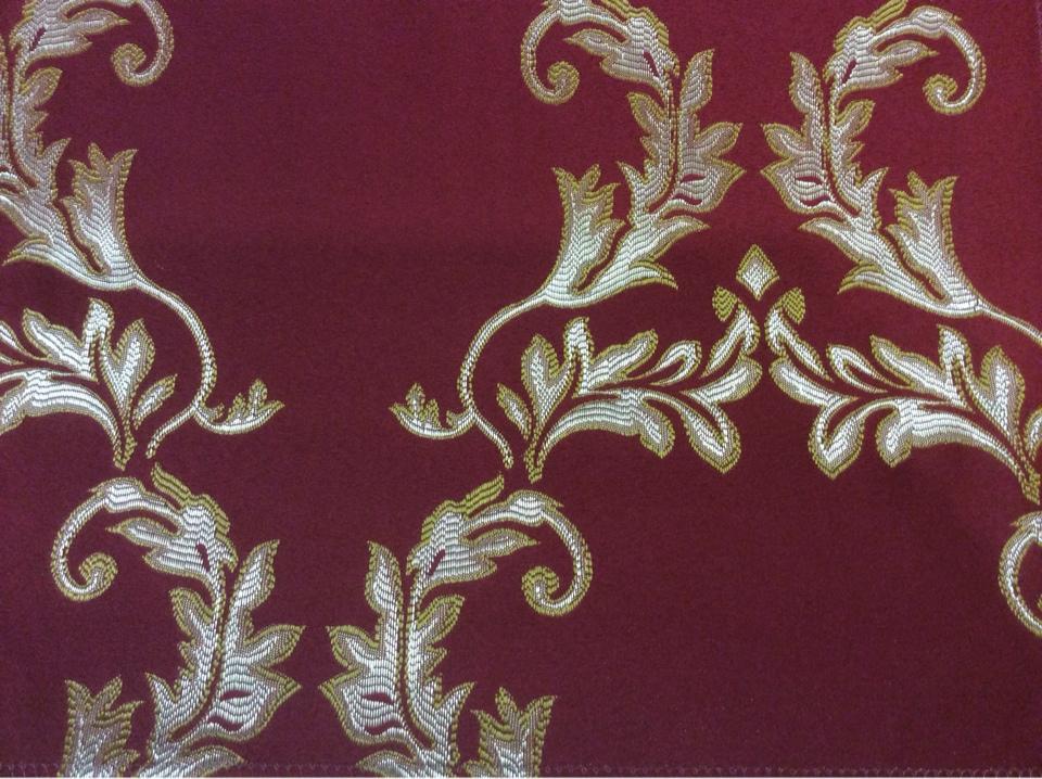 Ткань для штор в стиле барокко 2375/30. Франция, Европа, портьерная. Красный фон, золотистый орнамент купить в каталоге