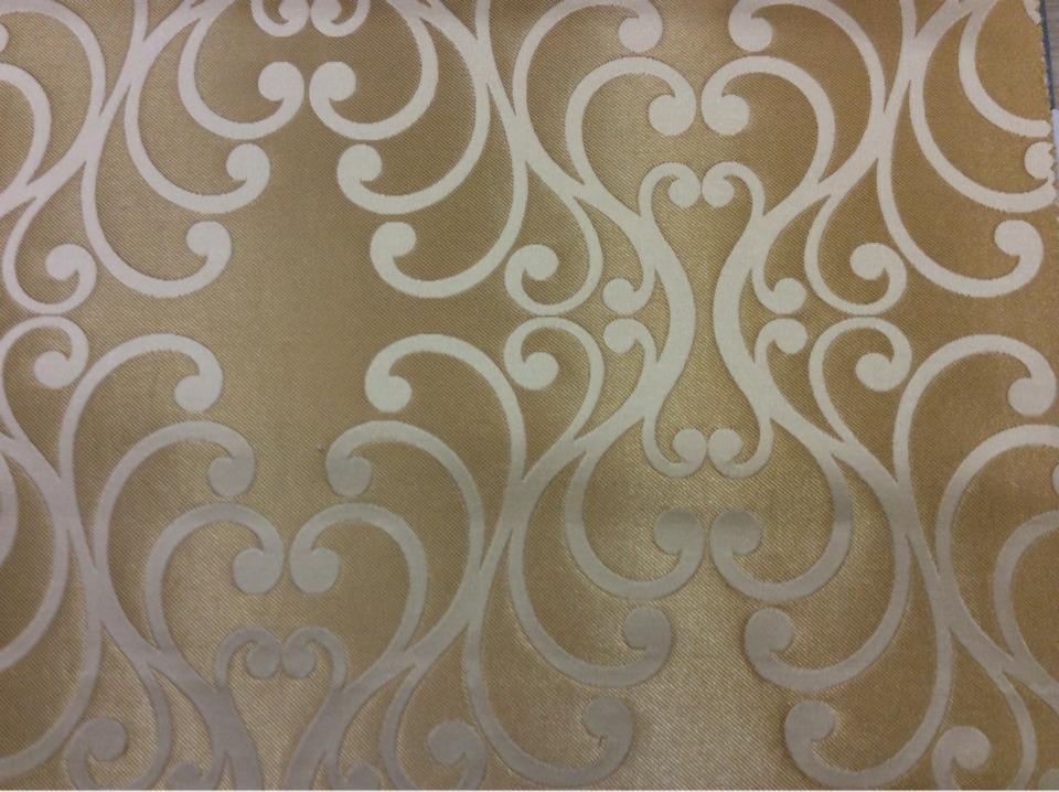 Купить элитную ткань в стиле барокко в Москве Elizabeth col. 14. Испания, Европа, портьерная. Золотистый фон, ванильный принт в каталоге на заказ с доставкой