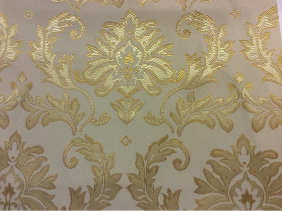 Купить ткань в Москве, стиль барокко 2374/15. Франция, Европа, портьерная. Ванильный фон, золотой орнамент Москва