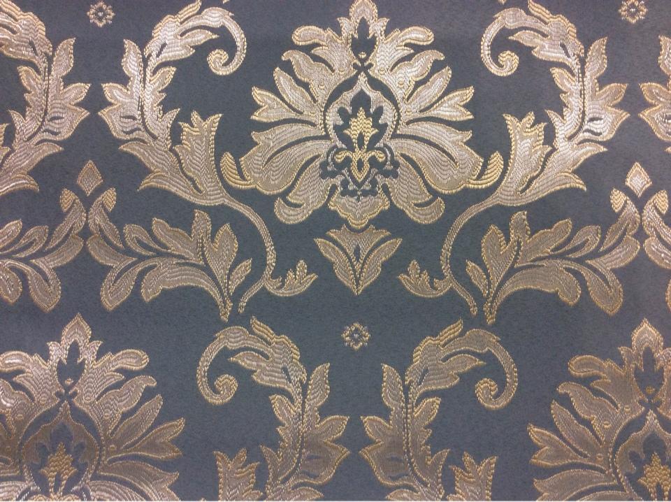 Купить дорогую ткань в стиле барокко в Москве 2374/41. Франция, Европа, портьерная. Насыщенный голубой фон, серебристый орнамент в каталоге штор