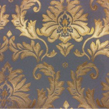 Атлас с вышивкой из Франции, барокко 2374/45. Европа, Франция, портьерная ткань для штор. Насыщенный голубой фон, золотистый орнамент