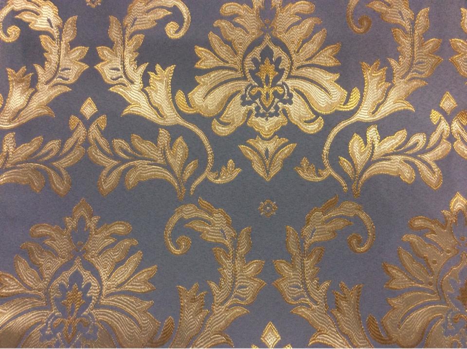 Атлас с вышивкой из Франции, барокко 2374/45. Европа, Франция, портьерная ткань для штор. Насыщенный голубой фон, золотистый орнамент купить