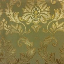 Атлас с вышивкой купить в интернет-магазине ткани 2374/51. Франция, Европа, портьерная ткань для штор на заказ. Оливковый фон, золотистый орнамент