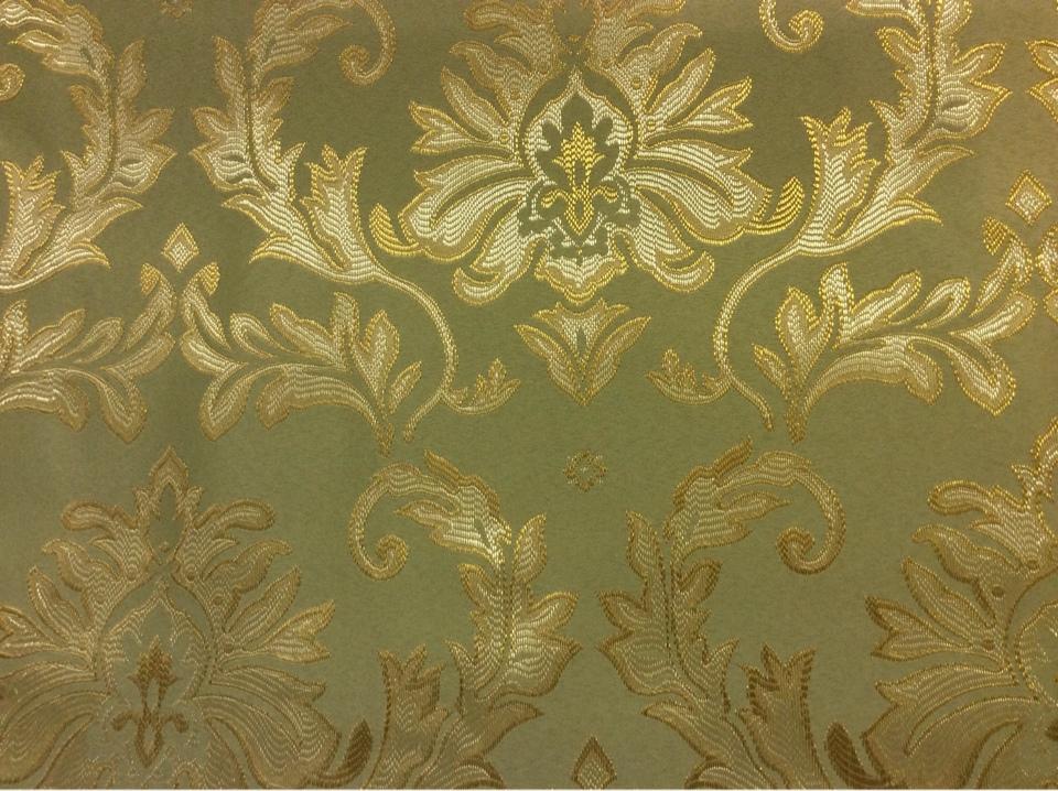 Атлас с вышивкой купить в интернет-магазине ткани 2374/51. Франция, Европа, портьерная ткань для штор на заказ. Оливковый фон, золотистый орнамент купить
