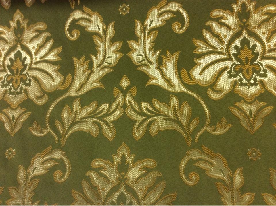 Купить ткань в магазине штор с доставкой по Москве 2374/50. Франция, Европа, портьерная ткань в стиле барокко. Зелёный фон, серебристо-золотистый орнамент купить