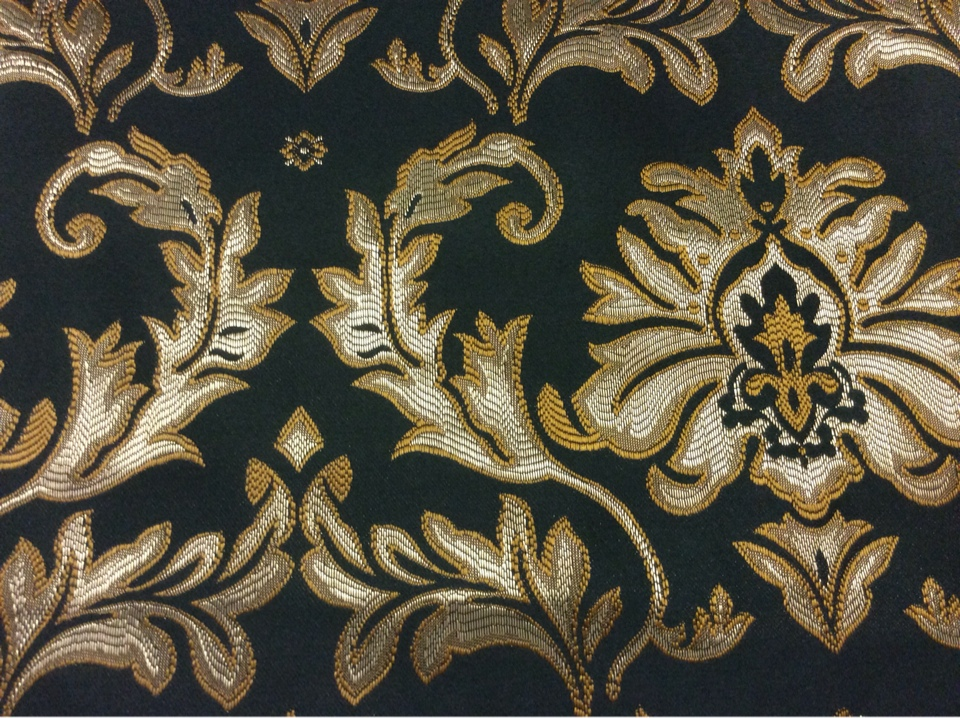 Французская ткань в Москве 2374/55. Франция, Европа, портьерная. Тёмно-зелёный фон, серебристо-золотистый орнамент купить