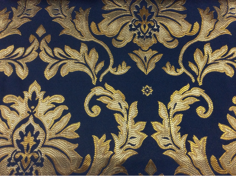 Атлас с вышивкой, тёмно-синий фон, золотистый орнамент 2374/40. Франция, Европа, портьерная ткань для штор купить