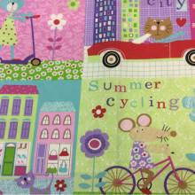 Детская хлопковая ткань для занавесок с ярким принтом Shopping. Airjet. Col 01. Испания, Европа, портьерная ткань. Цветные мультяшные персонажи