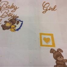 Детская ткань для штор с мишками 90050. Devore. Col 1. Испания, Европа, тюль. Изображение мишек с сердечками