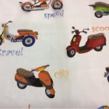 Органза с вискозной нитью для детской комнаты Vespa. Devore. Col 01. Европа, Испания, тонкий тюль. На прозрачном фоне цветные мотоциклы