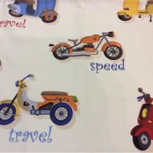 Ткань для детской комнаты с мотоциклами Vespa. Airjet. Col 01. Испания, Европа, портьерная. На белом фоне цветные мотоциклы